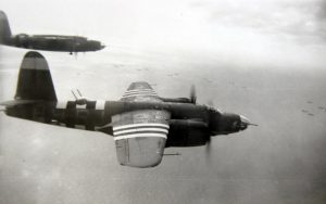 This June 6, 1944 photo released by Nathan Kline, shows a B-26 Marauder flying toward France during the D-Day invasion. (AP Photo/ Courtesy of Nathan Kline)