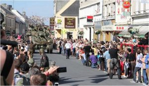 Parade of military vehicles in Isigny-sur-Mer